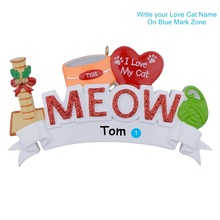 MEOW WOOF I Love My Cat Dog Polyresin Personalized Tree Christmas Ornaments For Holiday Keepsake Gifts Home Party Decoration блюдо декоративное home philosophy 28 см i love my home 402171