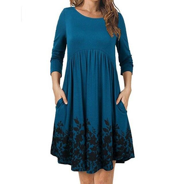 d4a699b2d Vestido de manga larga de maternidad o-Cuello impresión Gravidas Vestidos  para las mujeres embarazadas