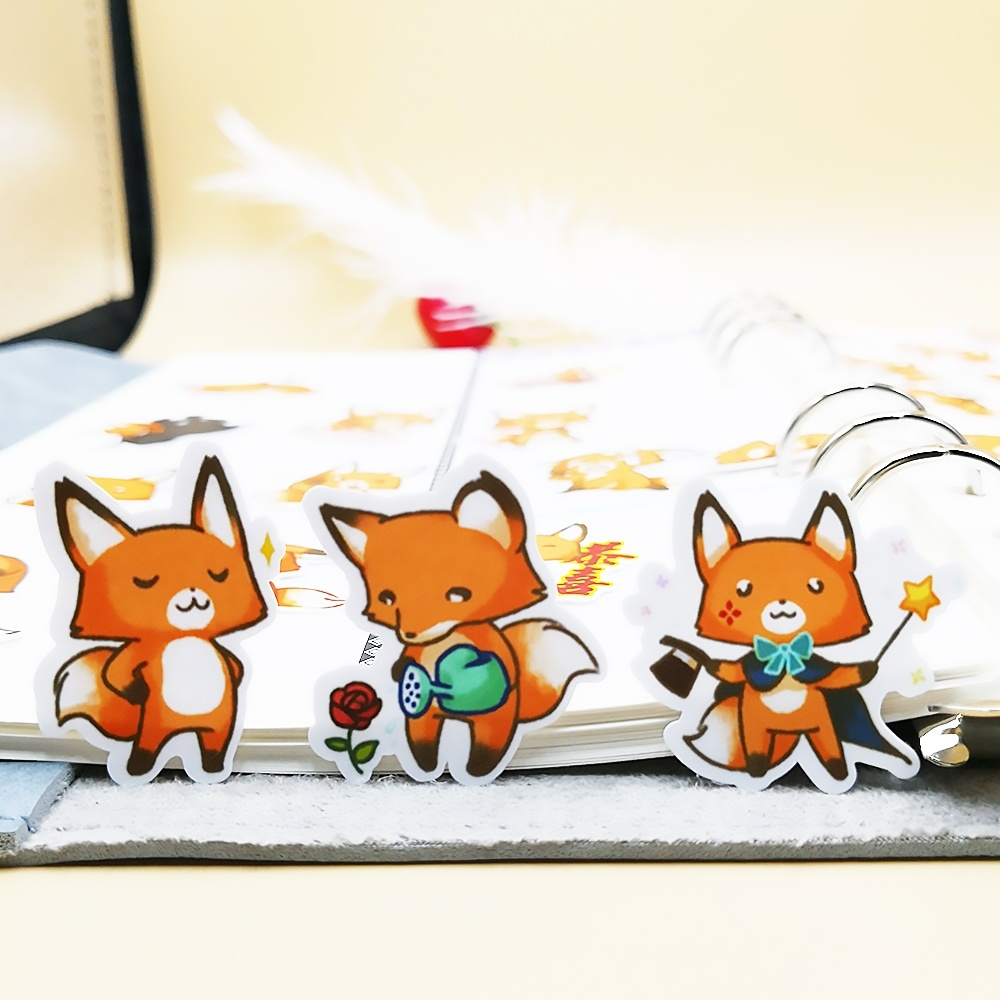 20/40pcs Cute Little Fox Daily Life DIY Sticker Diary Gift Decoration Scrap Paper Random Not Repeat