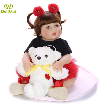 DollMai 23 Inch Real Silicone Body Reborn Baby Doll Fashion bebes Reborn Girl Princess Doll For Kid Birthday Gift tan skin
