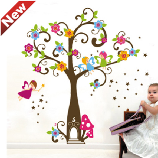 Wall Decals ZY7158 KIDu0027S The Children Cartoon Elf Girl Bent Tree Color Wall  Sticker Outlet Europe Wall Stickers In Wall Stickers From Home U0026 Garden On  ...