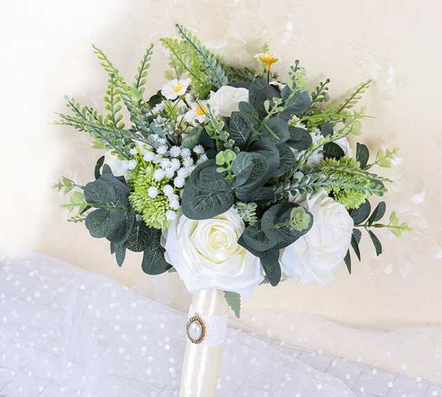 Boho Beach Wedding Flowers Bridal Bouquets Ivory Rose Bride