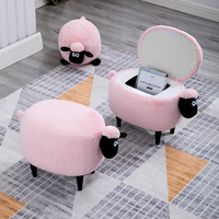 Pink sheep Shape Creative Wooden Footstool Sturdy Storage / Washable Shoe Bench Sofa with Wooden Legs Multicolor