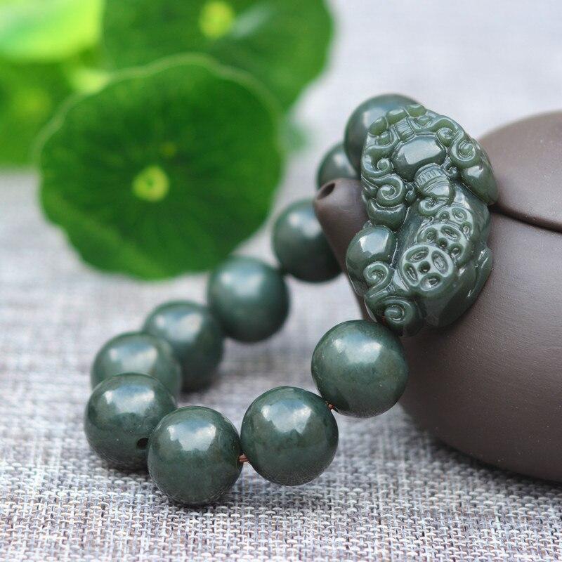 Přírodní zelené nefritové kamenné náramky vyřezávané Pixiu náramek kulaté korálky náramky náramky dárek pro pánské nefritové šperky
