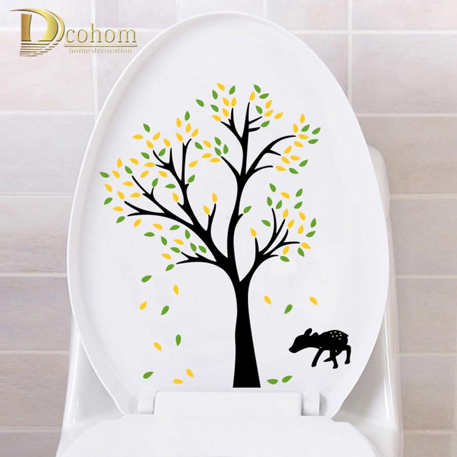 Deer decor for bathroom - Creative Deer Tree Flower Wall Sticker Toilet Bathroom Sticker For Kids Room Diy Poster Home Decor