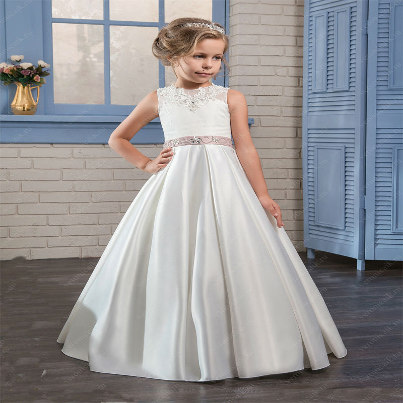Flower Girls Dresses for Wedding A-Line Mother Daughter Dresses For Girls Satin First Communion Dresses for Girls with Sashes