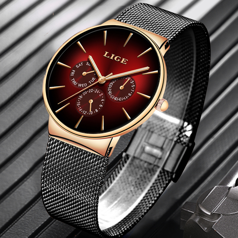 LIGE New Fashion Mens Watches Top Brand Luxury Quartz Watch Men Mesh Steel  Waterproof Ultra-thin Wristwatch For Men Sport Clock
