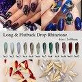 2017 de Moda de Nova 12 Pçs/lote Nail Art Longo & Dorp Apartamento de Volta Cristal Strass Decoração Liga Pedrinhas DIY Nails Art cosméticos