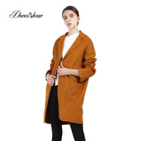 Vintage Women Brown Cape Cashmere Coat 2017 New Woolen Coat Women Winter Jacket Overcoat Female Outwear Casaco Feminino Trench