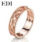 Bandas de oro rosa auténtico de 18 quilates de 0,02 cttw, anillos de boda de corte redondo para mujeres, diseño floral, regalos de joyería fina - 1
