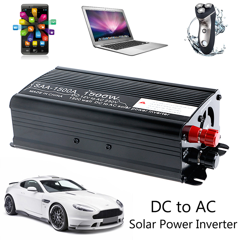 OOTDTY 1PC Solar Continuous Inverter 1000W 12V DC To 230V AC Modified Sine Wave Converter