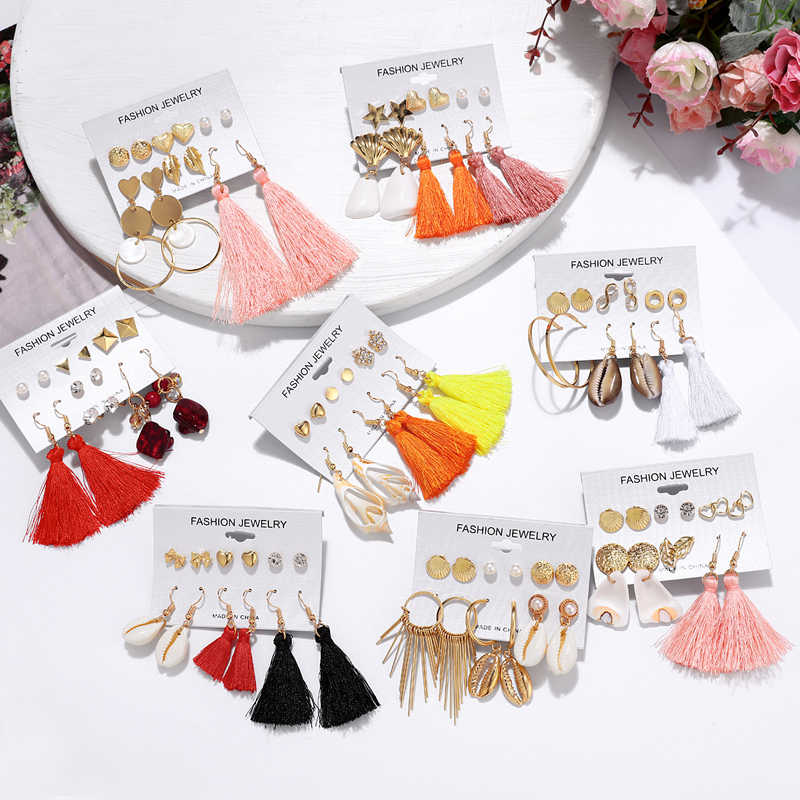 Fashion Crystal Stud Earrings Set Tassel Earrings For Women Bohemian Shell Long Earring amazing price Female Earring Jewelry
