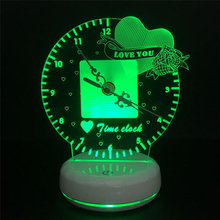 Love Shape 3D Night Light with Clock USB Charging Novelty Touch  Colorful Control Colorful LED Time Clock for Decoration Home
