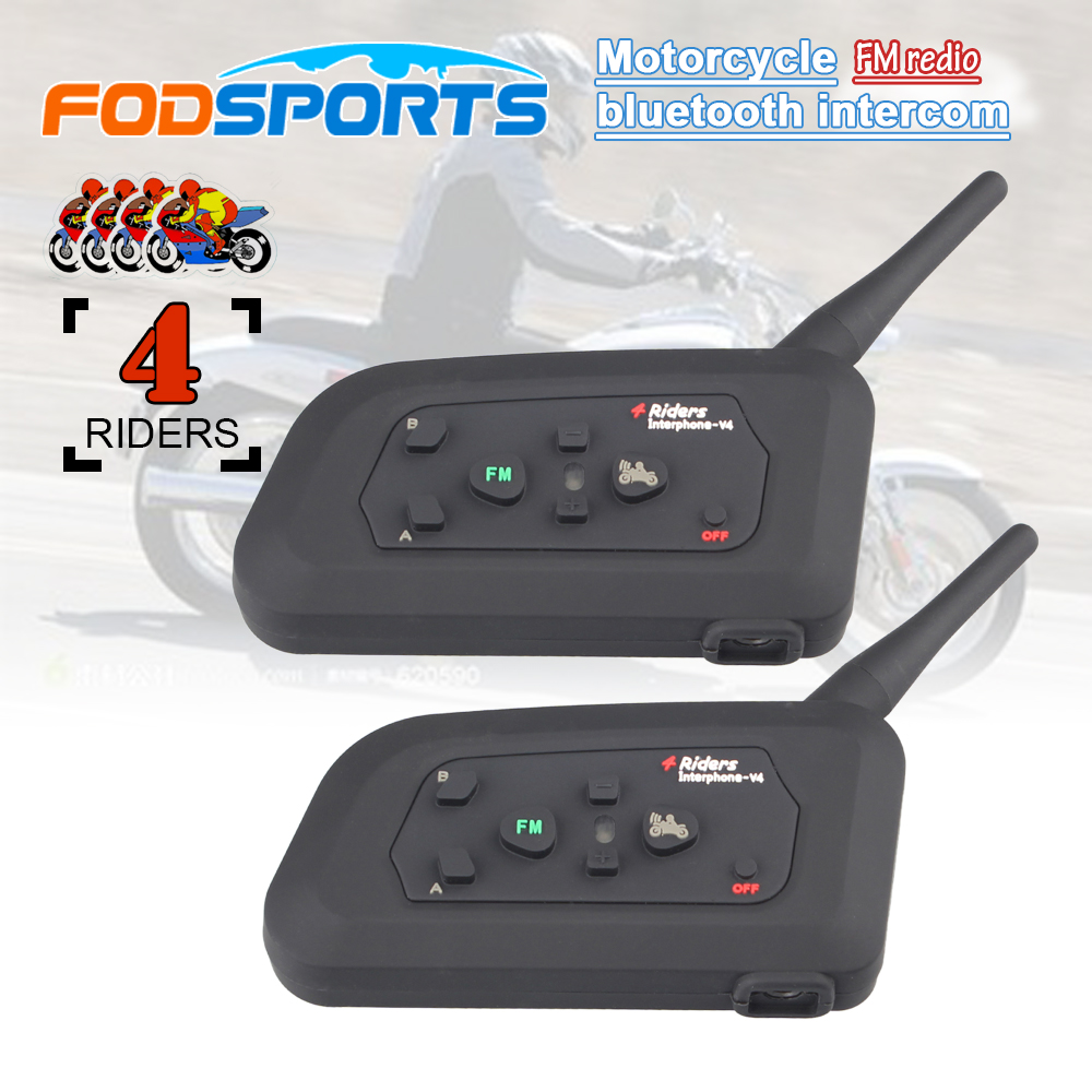 2pcs Fodsports V4 Four Riders Motorcycle Waterproof Helmet Bluetooth Intercom 1200m Motor Wireless BT Interphone With FM Radio