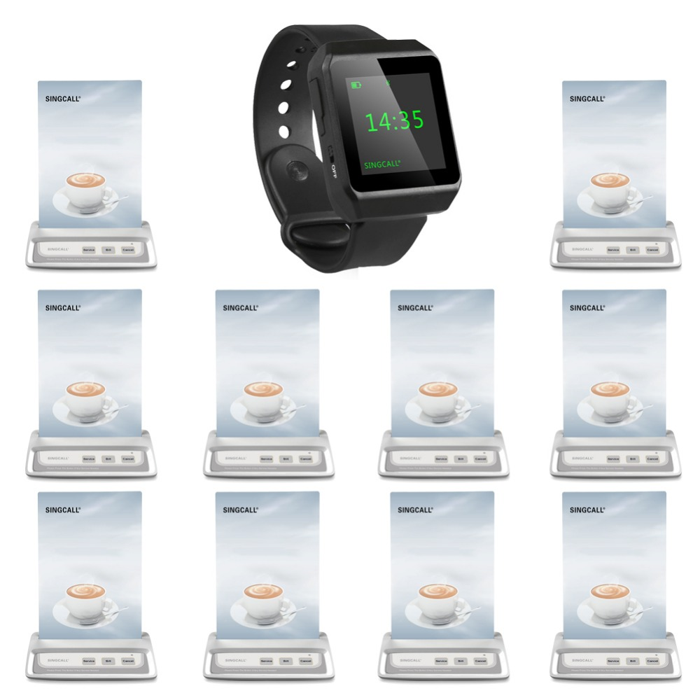SINGCALL Wireless Calling System,restaurant call button, 1 mobile watch receiver  10 bells  for coffee waiters, 2 receivers 60 buzzers wireless restaurant buzzer caller table call calling button waiter pager system