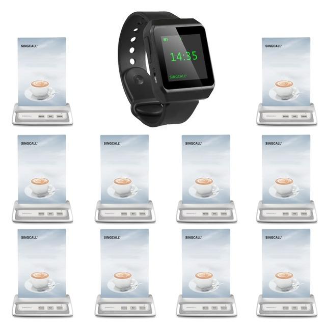 Singcall sem fio sistema de chamada, botão de chamada restaurante, 1 receptor relógio móvel 10 garçons sinos para o café,
