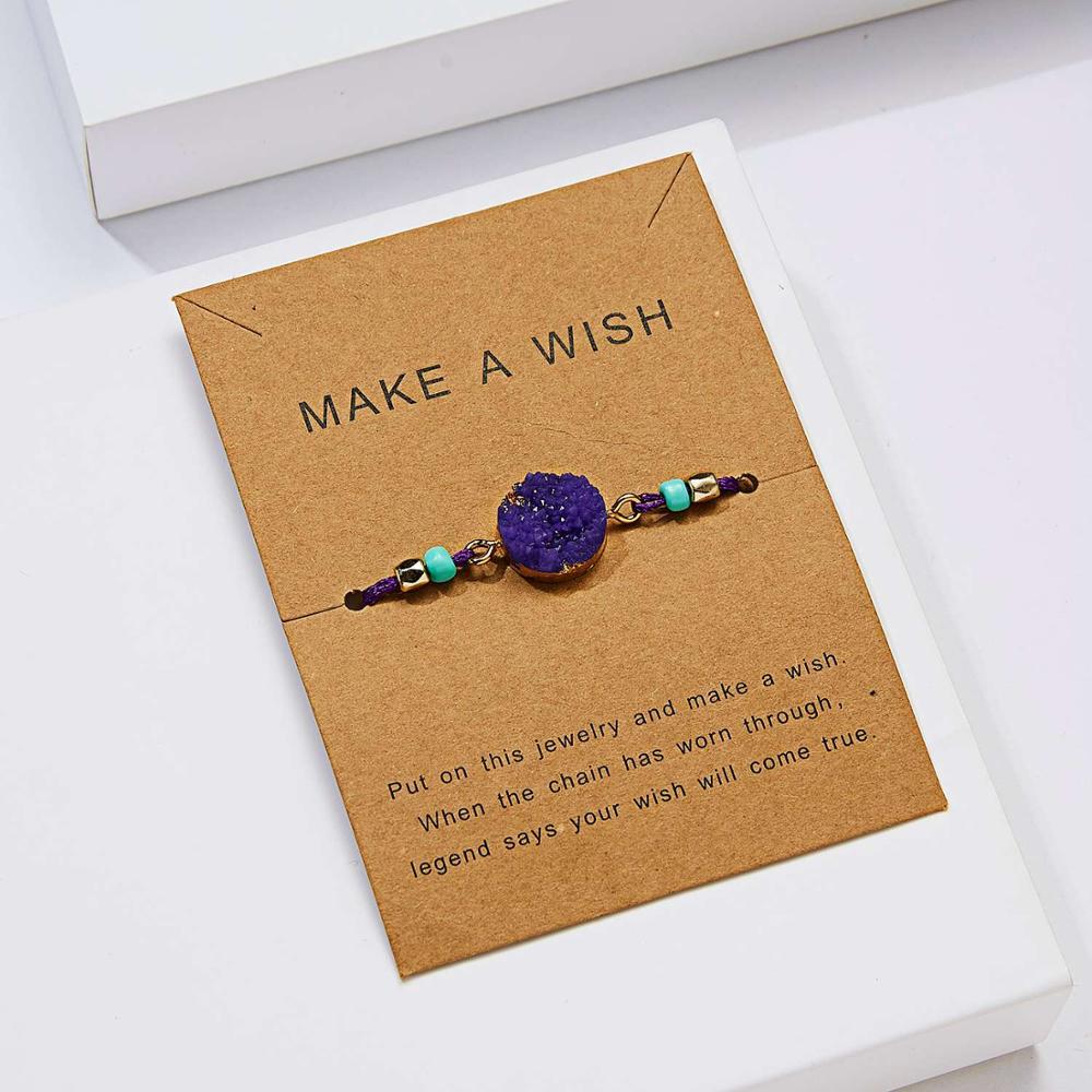 Натуральный камень Новая 7 цветная подвеска тканый браслет с картой Загадай желание регулируемый браслет из веревки для женщин очаровательные подарочные украшения - Окраска металла: 7