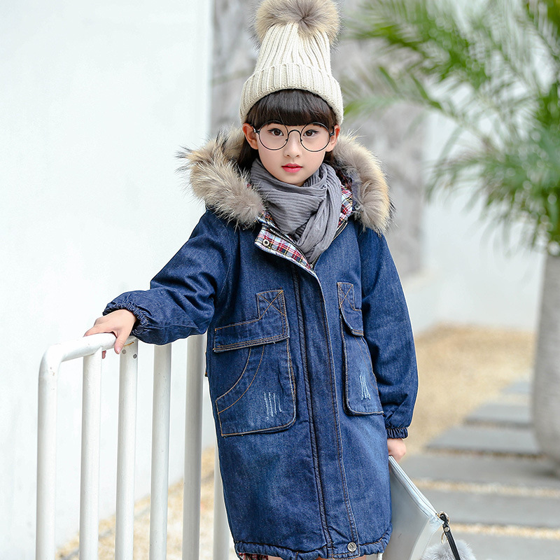 Girls Autumn and Winter Denim Jacket Long Warm Thick Cotton Padded Coat  with Fur Collar