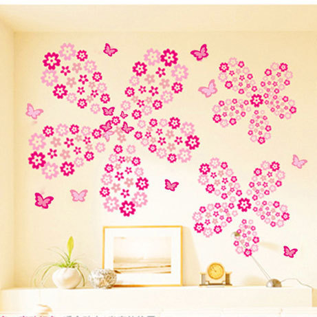 108pcs Flowers and 6pcs Butterfly Wall Stickers 1