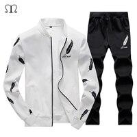 2018 אופנה חדשה גברים סטי סווטשירט אימונית שחור ולבן הדפסת נוצות מעיל + מכנסיים ספורט זכר שני מכנסיים חתיכה
