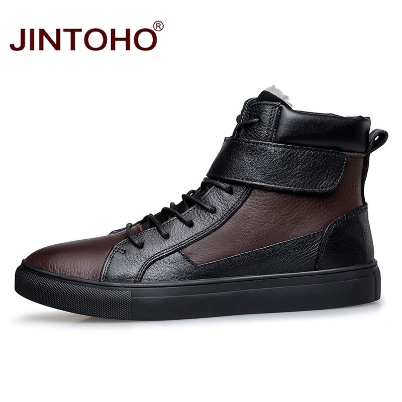 JINTOHO ผู้ชายขนาดใหญ่ของแท้หนังรองเท้าแฟชั่นชายรองเท้าหนังผู้ชายฤดูหนาวรองเท้ารองเท้าสำหรับชาย-ใน รองเท้าบูทแบบเบสิก จาก รองเท้า บน   3