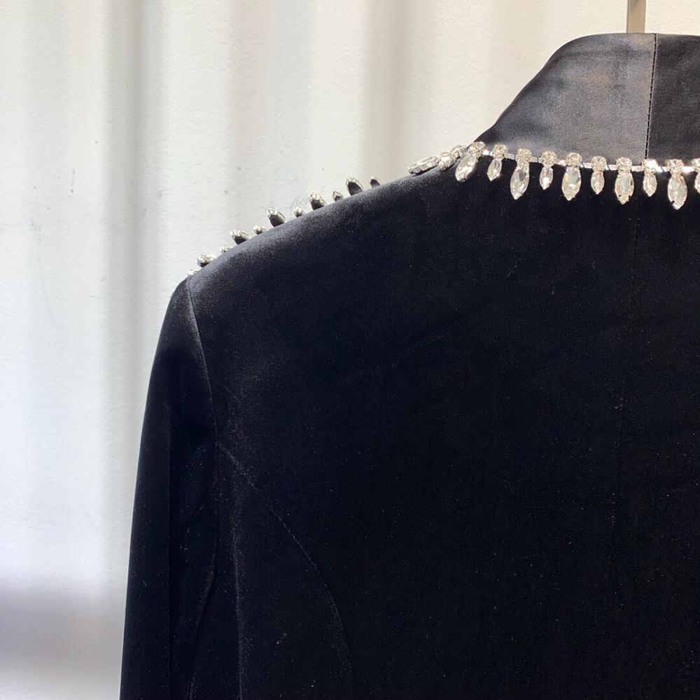 Frühling Luxus Blazer Frauen Diamanten Mantel 2019 P0oknw Samt 0wPkOn