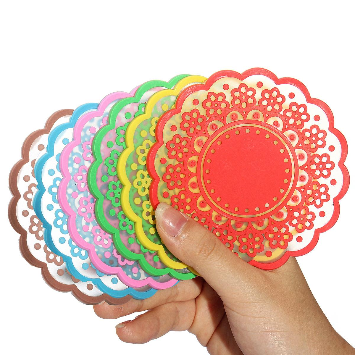 Lace Silicone Coaster Drink Cup Cushion Mat Round Tea Coffee Bowl Holder  Wedding Tableware Placemat Heat Resistant Pad 2pcs