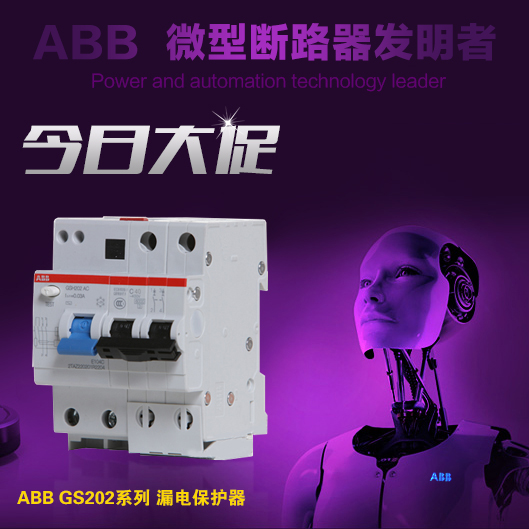 ABB electric shock protector for air circuit breaker breaker switch bipolar 2P6A leakage protector GSH202-C6