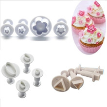 4pcs/set Round Oval Flower Square Plunger Cookie Cutter Plastic Sugarcraft Fondant Biscuit Mold Stamp Cake Decorating Tools