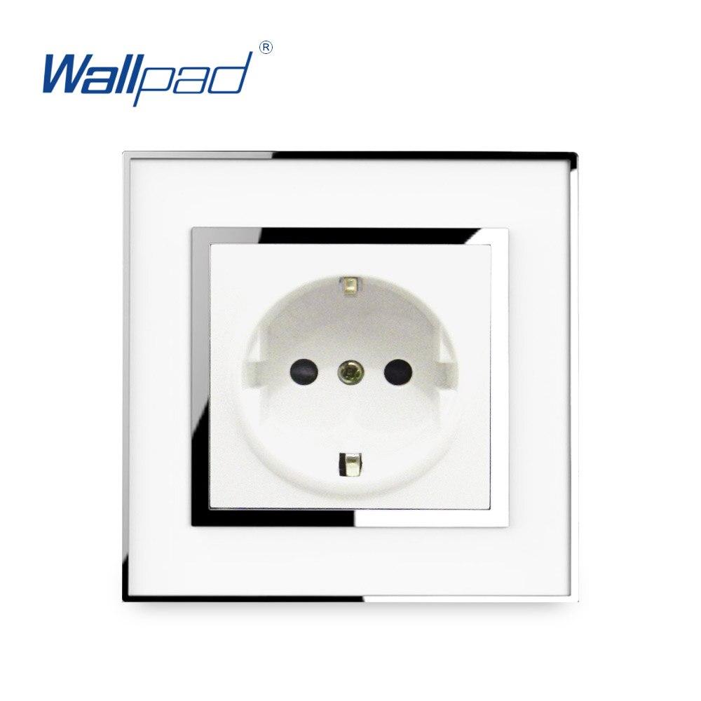 UE 16A Wallpad 2 Pin Soquete De Energia Do Painel de Acrílico Espelho de Parede Tomada Elétrica Alemã DA UE Padrão Tomada Schuko