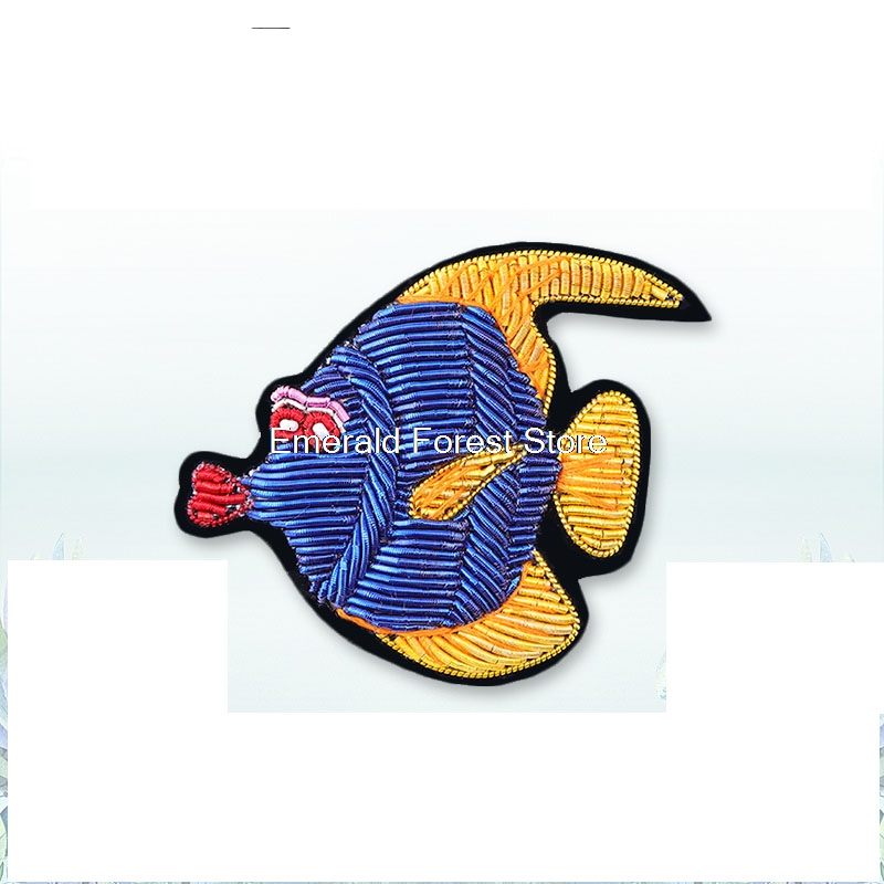 Arts,crafts & Sewing Apparel Sewing & Fabric Hand Embroidery Blue Magic Fish Decoration Cartoon Brooch,badges For Clothes Wide Selection;