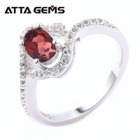 Natural Red Garnet Sterling Silver Ring Women 2 Carats Natural Crystal Gemstone Faced Cut Professinal Jewelry Brand Top Quality