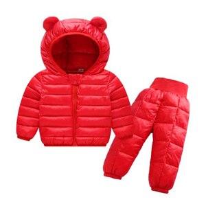 Image 2 - Комплекты зимней одежды для детей комплект из 2 предметов: куртка с капюшоном + штаны теплая куртка с хлопковой подкладкой для маленьких девочек Детские Зимние костюмы для мальчиков, От 1 до 5 лет