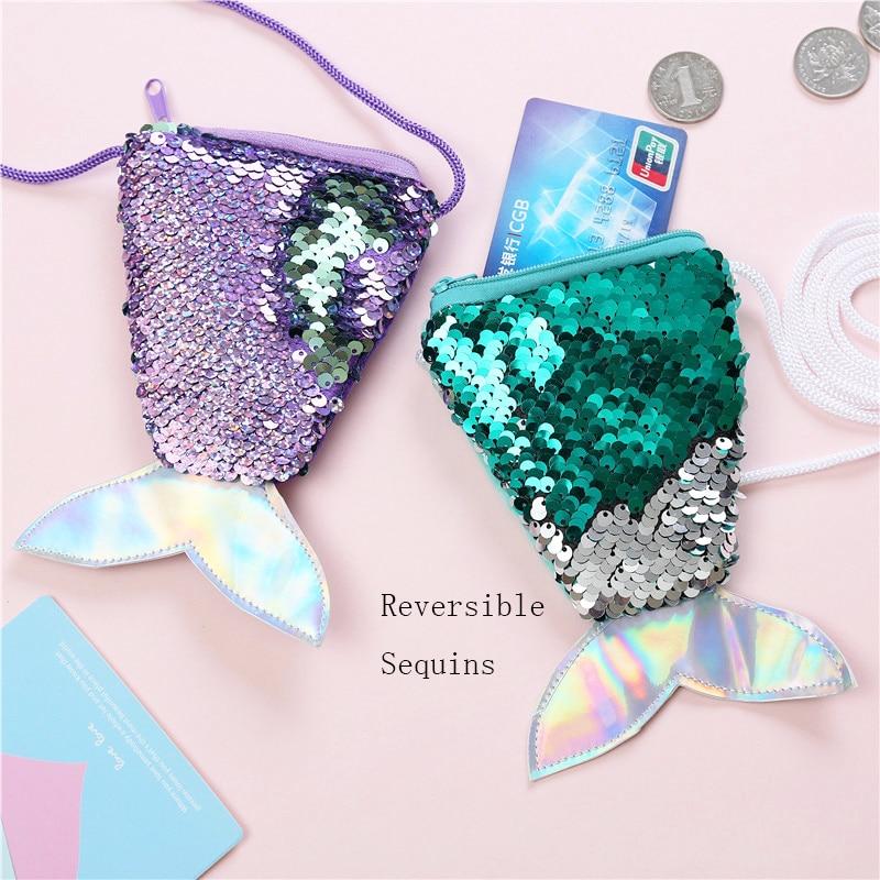 Small Sequins Coin Purse Girls Crossbody Bag Mermaid Change Wallet Coin Pouch Children's Wallet Money Holder Kids Gift