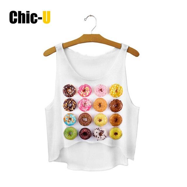Chic u Crop Tops Frauen 2016 Baumwollmischung Weiß Rosa Donuts Crop ...