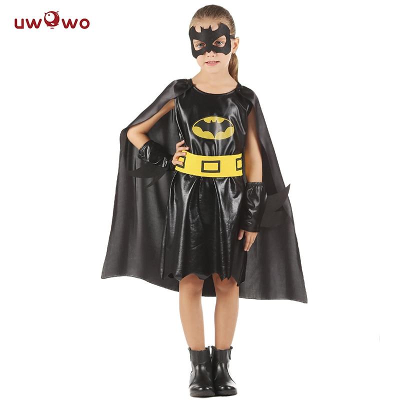 UWOWO Girls Batman Costume Party Anime Cosplay Halloween Costume For Kids Child BatMan Cosplay Halloween
