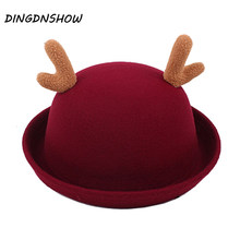 [DINGDNSHOW] 2018 New Fedoras Hat Kid Cartoon Wool Cap Horns Lovely Winter Hat Warm Bowler Derby Floppy for Girl(China)