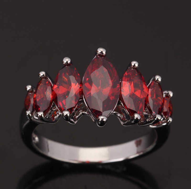 Solitaire Gems Red Garnet Marquise Bentuk perempuan Partai 925 Sterling Perhiasan Perak Rings Ukuran 6 7 8 9 S0074