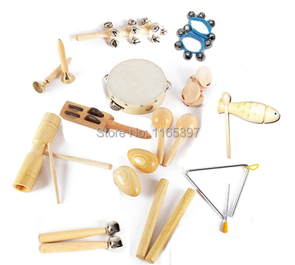 ФОТО Free ship 1 set 12pc children kids wooden metal percussion Orff musical instrument set music early education