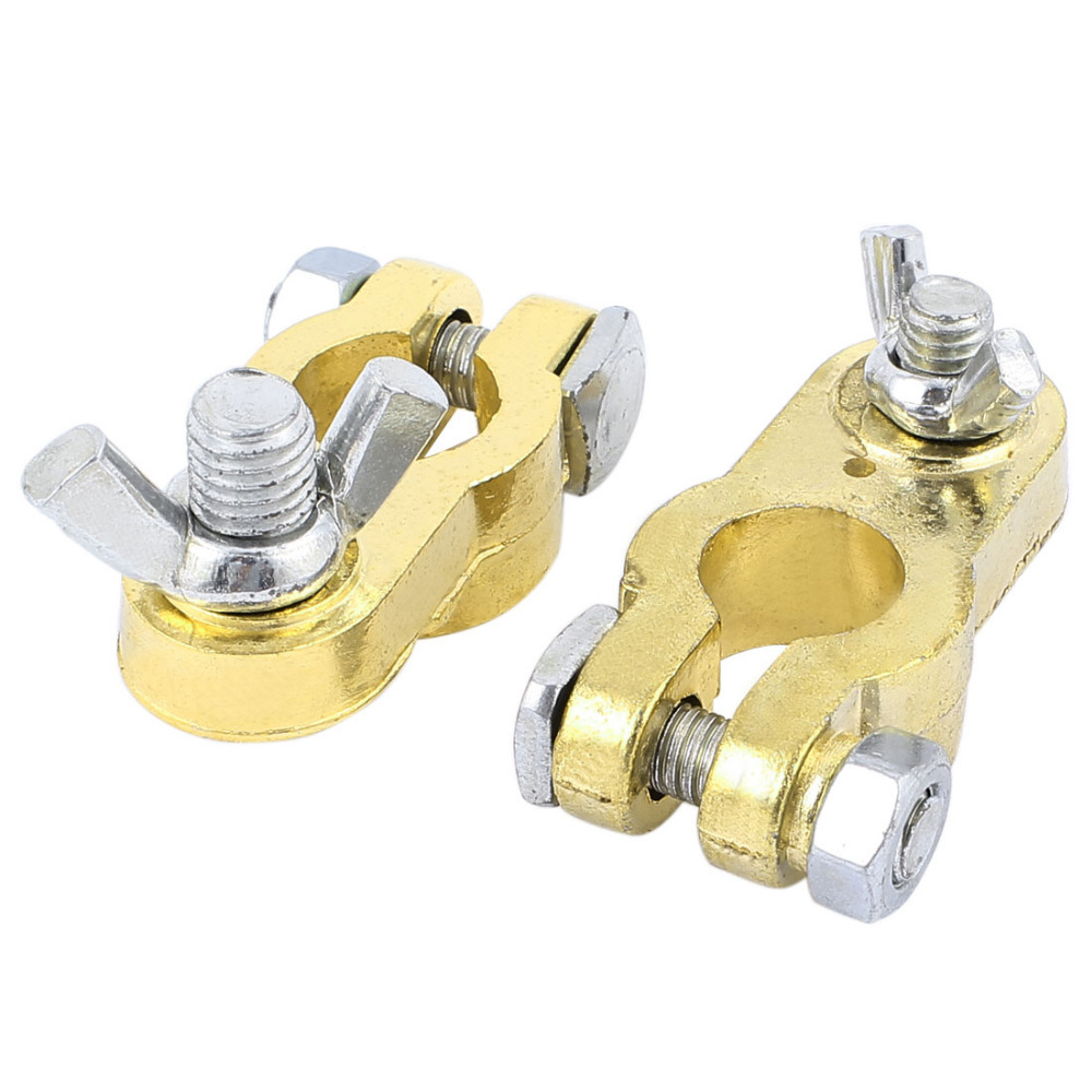 Pair Gold Tone Brass Universal Car Battery Terminal Clamp Clips Connector promotion battery terminal clamp clips connector car truck auto vehicle parts brass battery switch 5