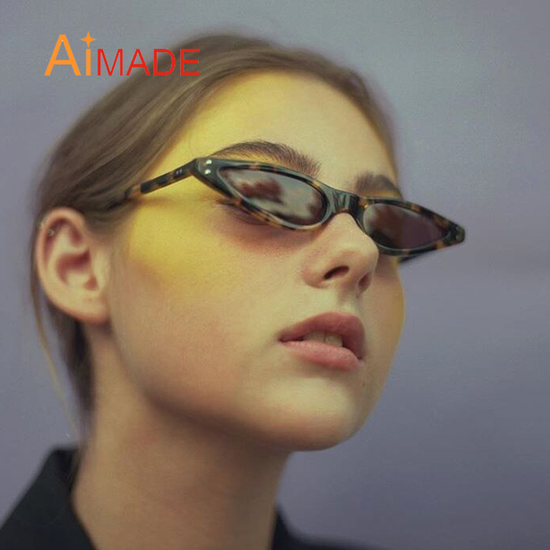 4484c957e1 Detail Feedback Questions about Aimade 2018 Fashion Ocean Color Lens Small  Cat Eye Sunglasses Women Vintage Rivet Triangle Cateye Sun Glasses For  Female ...