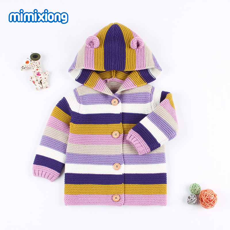 Baby Girl Winter Sweaters Cardigans Cartoon Bear Newborn Boys Knit Jackets 2018 Autumn Hooded Long Sleeves Toddler Kids Knitwear 2018 autumn winter boys sweaters fashion blue kids knit pullovers jumper solid long sleeve toddler knitwear top children clothes page 2