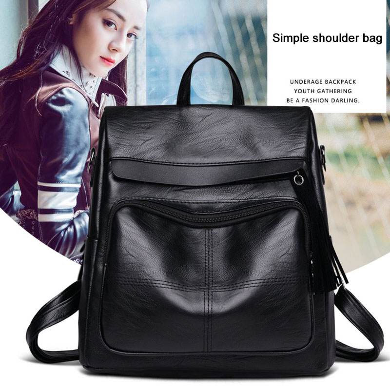 2018 new fashion Women Travel Backpack PU Leather Purse Zipper Girl School Bag Casual Shoulder Bags WML99