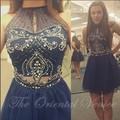 Navy Blue Two Pieces Homecoming Dresses 2017 Sexy Halter Beading Crystals Short Mini Cocktail Party Dress Party Graduation Gowns