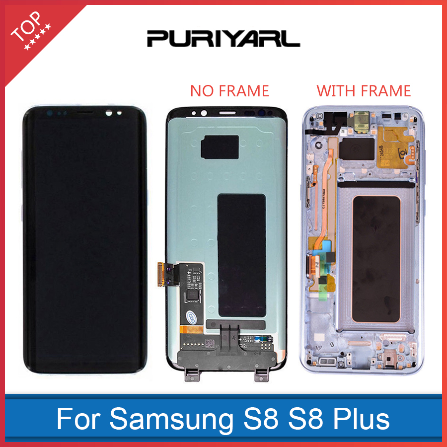 100% Original Super AMOLED Screen for Samsung Galaxy S8 LCD Display G950 S8+ S8 Plus G955 Assembly Replacement With Frame+Gift