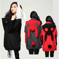 2018 autumn and winter style plus size cute bunny ears thickening recreational long fleece women coat