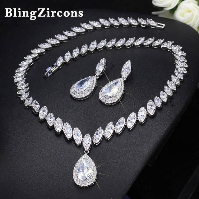 BlingZircons Luxury Women Statement Jewelry Sets Shiny Big Water