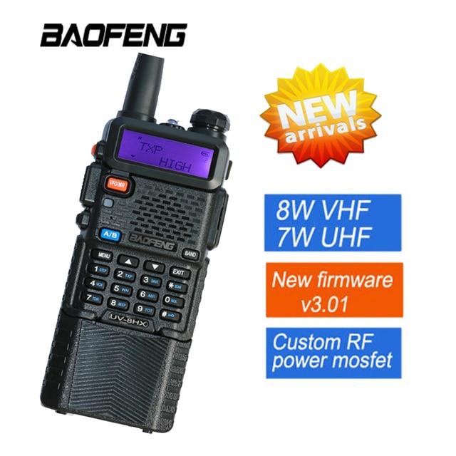 De Baofeng UV5R Walkie Talkie 8 W Radio Baofeng UV-8HX transceptor pantalla Dual Radio comunicador UV-5R portátil Walkie Talkie conjunto