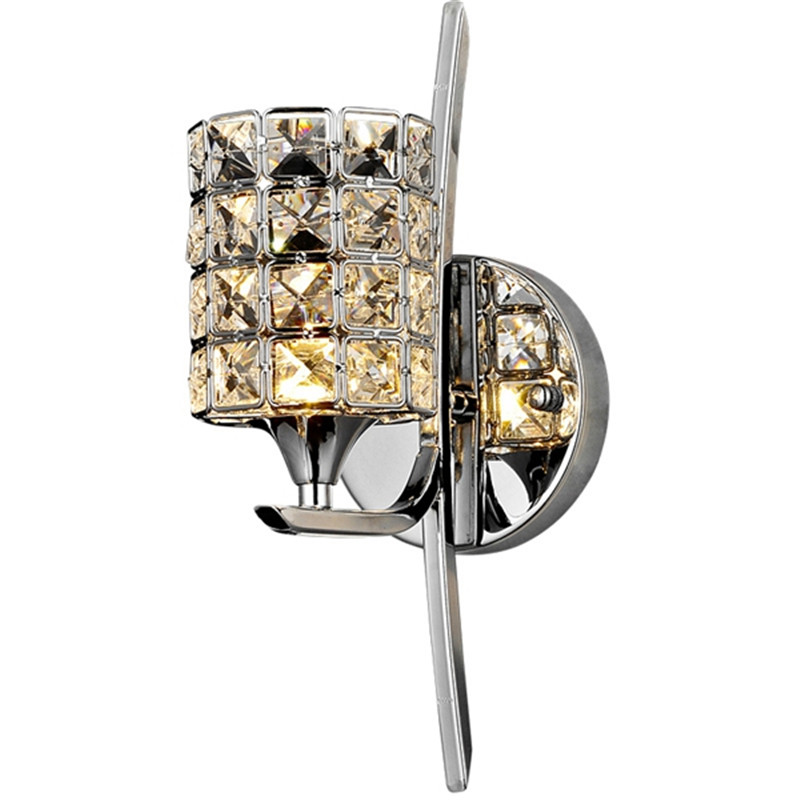 Single Crystal Wall Sconce Chrome Stainless Steel Wall Lights For Bedside Bedroom Homedecoration Lighting Fixtures Lustres WL6 niko 50pcs chrome single coil pickup screws