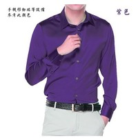 The new 2019 long sleeve 5 high grade commercial mulberry silk shirts men's cultivate one's morality shirt male XS 6 xl